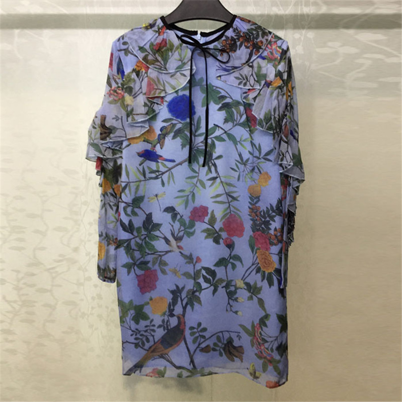 Blue Vintage Dress for Women With long Sleeve Straight Style Silk Summer high Quality Lady Dress
