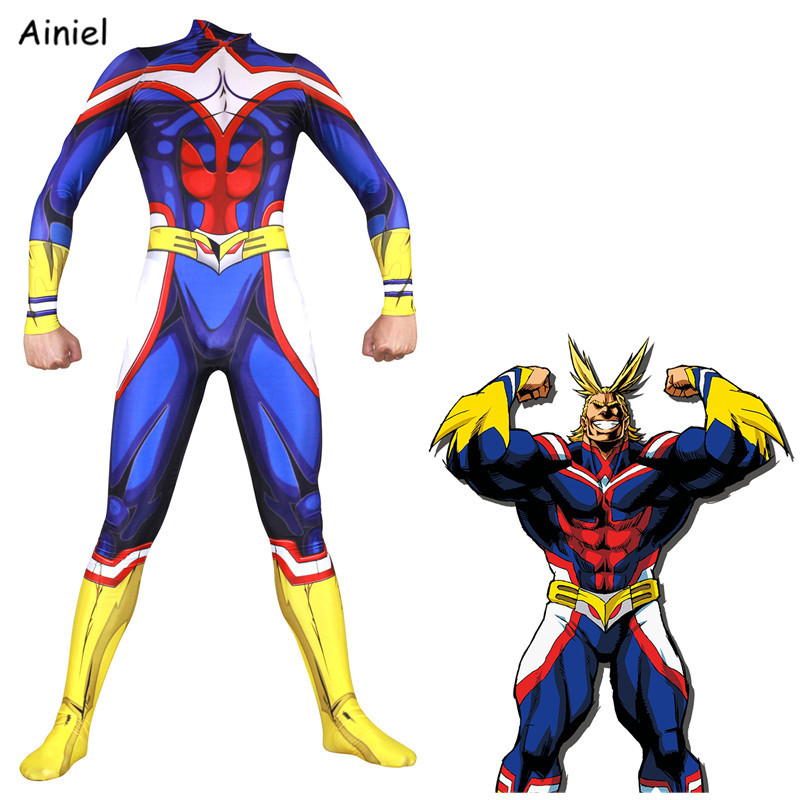Ainiel Anime My Hero Academia All Might Cosplay costume Jumpsuits Zentai  Halloween Carnival party For Adult Men Kids Boys