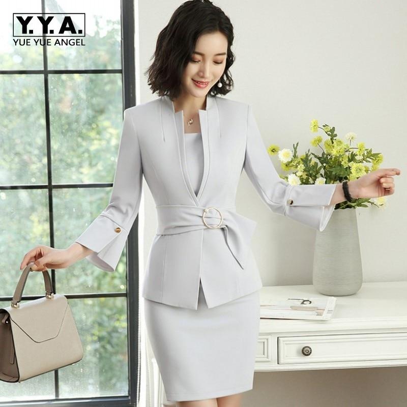 2019 nouvelle mode femmes moulante sans manches robe costume Blazer veste robes ceintures deux pièces ensemble bureau dames tenues uniforme