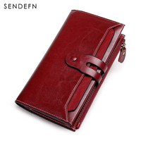 SENDEFN New Wallet Female Split Leather Purse Long Vintage Clutch Wallet Women Double Button Wallet Zipper Pocket Card Holder