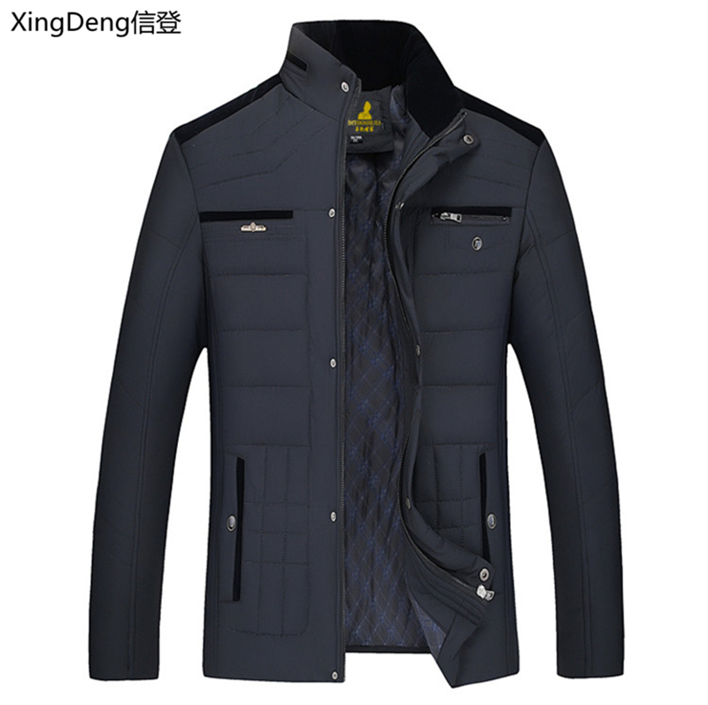 XingDeng 2020 New Snow Warm Brand Jacket Fashion Cotton Men's Winter Jackets Casual Outerwear Collar Top Coat Parkas Big Size