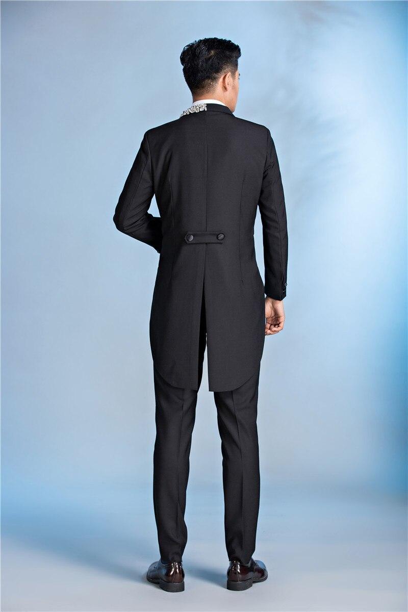 PYJTRL Mens Luxurious Crystal Lapel Black Tail Coat Latest Coat Pant ...