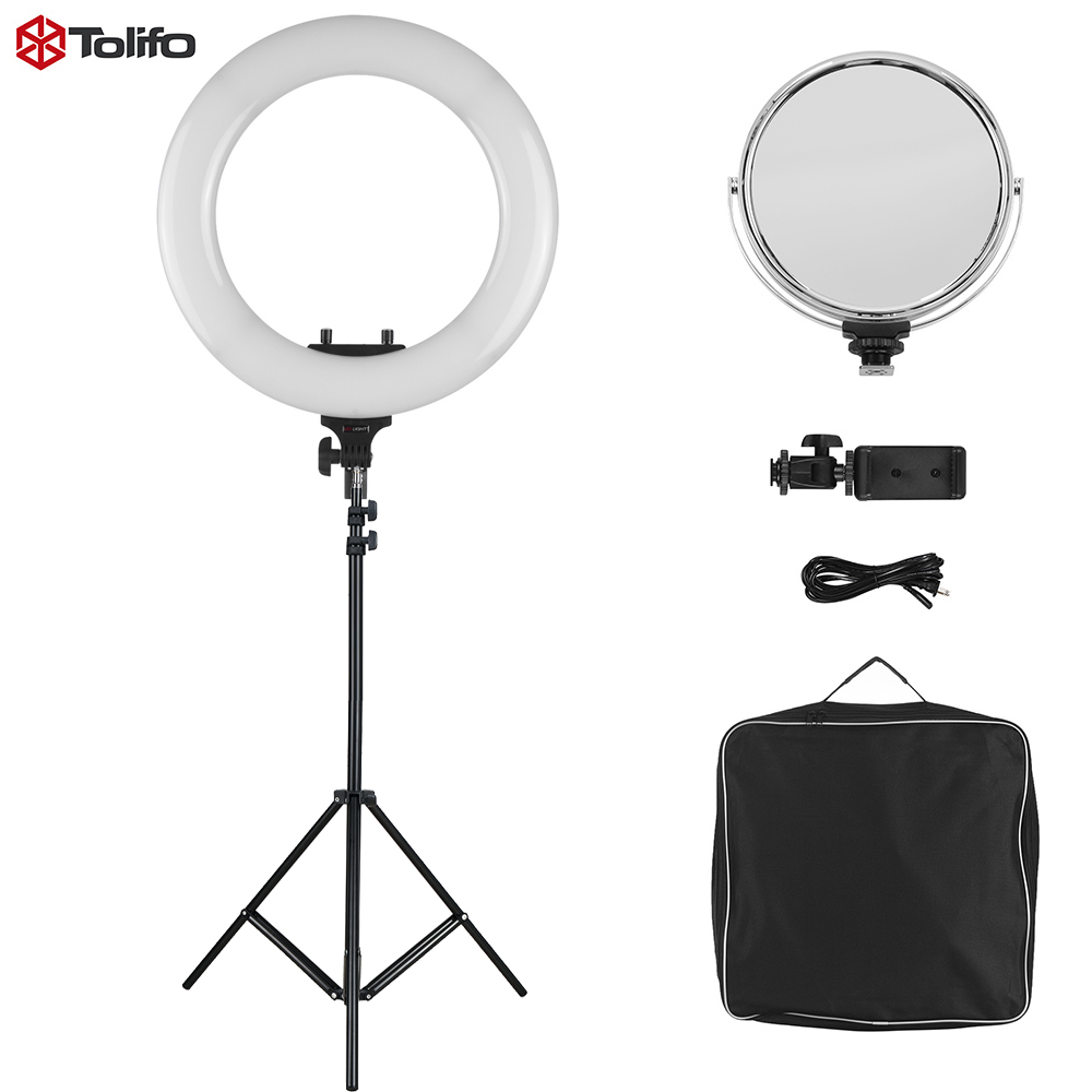 "R 48B Lite 3200 5600K 48W 18 ""LED Video Ring Licht Studio Fotografie Lamp met Light Stand make up Spiegel Telefoon Houder-in Fotografieverlichting van Consumentenelektronica op  Groep 1"