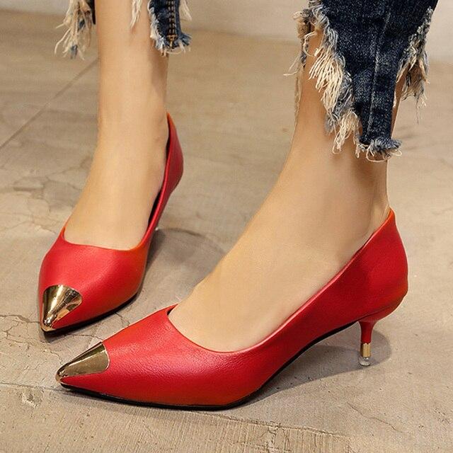 2d1bf13bd38a1 Primavera otoño Mujer tacones altos Zapatos de punta de Metal del dedo del  pie Zapatos de
