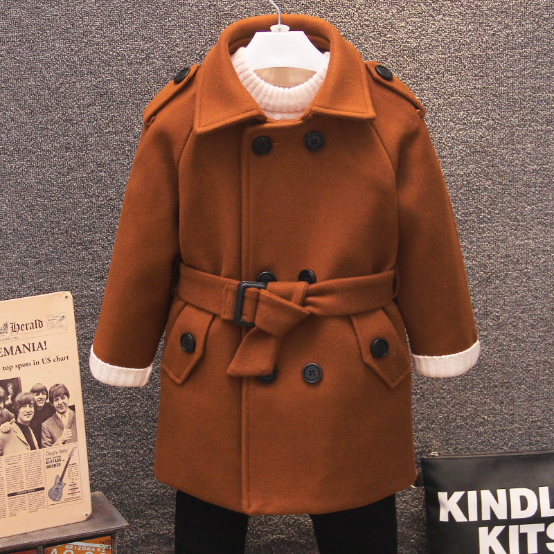 Boys wool coat children's thick double-breasted jacket in the long woolen coat caramel color boy woolen coat winter new style korean style turndown collar solid color double breasted long sleeves polyester trench coat for men