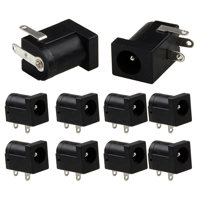 10Pcs PCB Mount 5.5 x 2.1 mm Female DC Power Jack Plug Socket Connector Black 100pcs rj11 4p4c female pcb mount modular plug jack network connector 4p grey