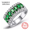 YANHUI Best Selling Green CZ Zircon Engagement Wedding Rings For Women 100% Solid 925 Sterling Silver Rings Brand Jewelry JZR501
