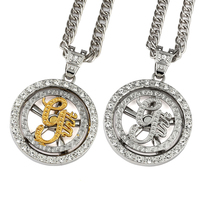 NYUKI Mens Jewelry Iced Out Whirligig G Unit Necklace Pendant Charm Fashion Bling Cuban 80cm Chain