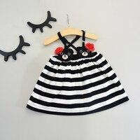 2017 Summer Dresses For Girls Embroidery Cartoon Bear Overalls Striped Toddler Little Baby Girls Dresses
