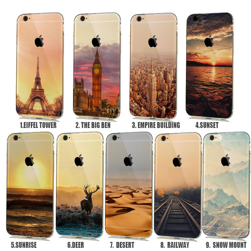 Beautiful Natural Scenery  Semi Transparent Ultra Thin Soft CellPhone Case For 6 6s 5 5s Capinhas 90 corner clamp shopify