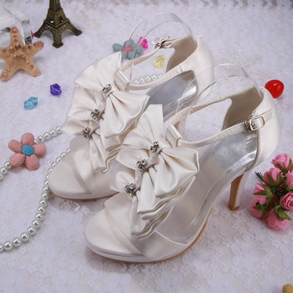 (20 Colors) Customized Off White Wedding Sandals Shoes Princess Satin Bow Heels Size 42 Women