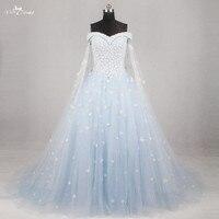 RF48 Light Blue Wedding Gown Wedding Dress 2016 Off The Shoulder Short Sleeves