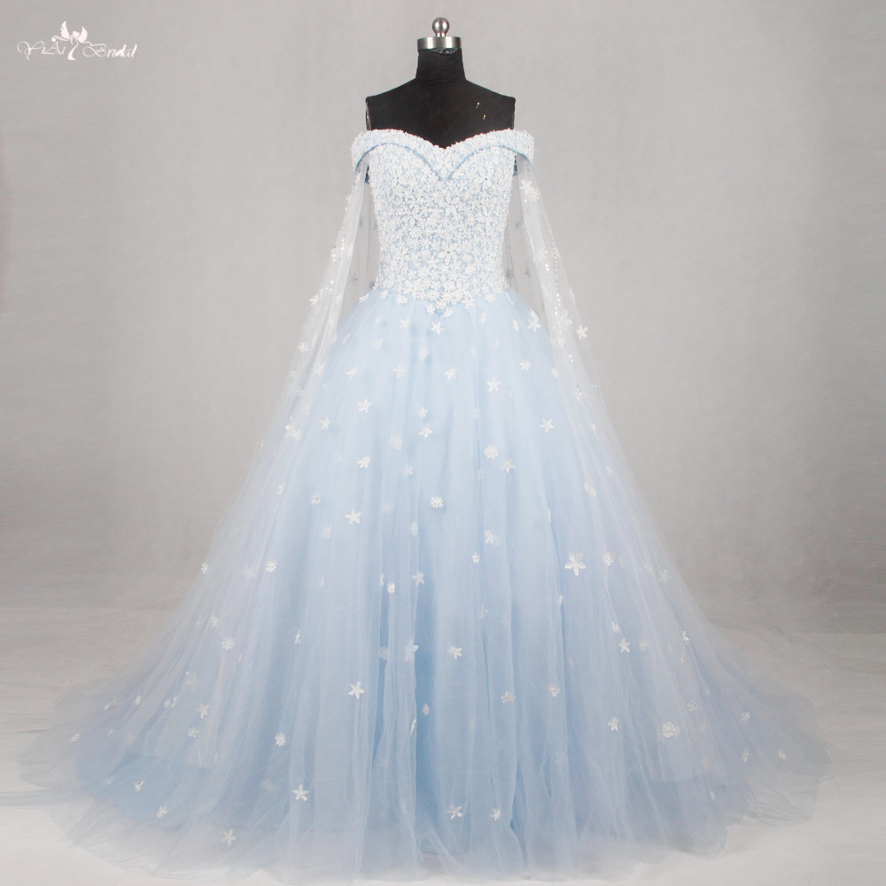 Rsw1134 light blue wedding gown wedding dress 2016 off the for Blue silver wedding dress