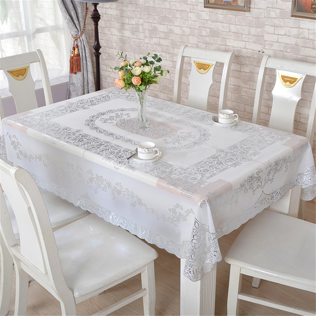 Marvelous Classical PVC Bronzing Floral Tablecloth Waterproof Oilproof Rectangular Non  Slip Table Covers Anti Hot Coffee
