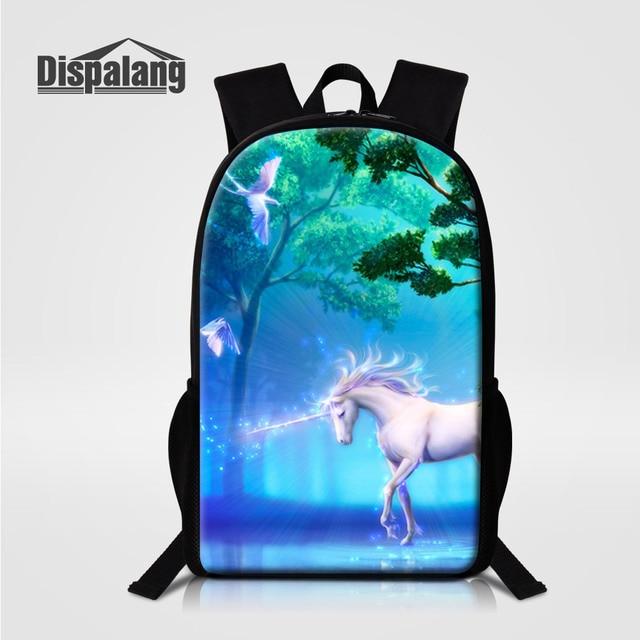 dac2f6fb5e Dispalang 3D Impressão Fantástico Animal Cavalo Unicórnio mochila  Estudantes Do Ensino Médio Mochilas Mochilas Mochilas Meninas