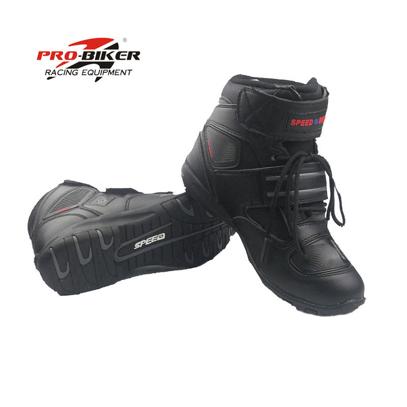 Pro-biker speed boot motorcycle racing leather bota de motocross botas moto motor bike shoes riding speed size 8,8.5,9,10,11 ...
