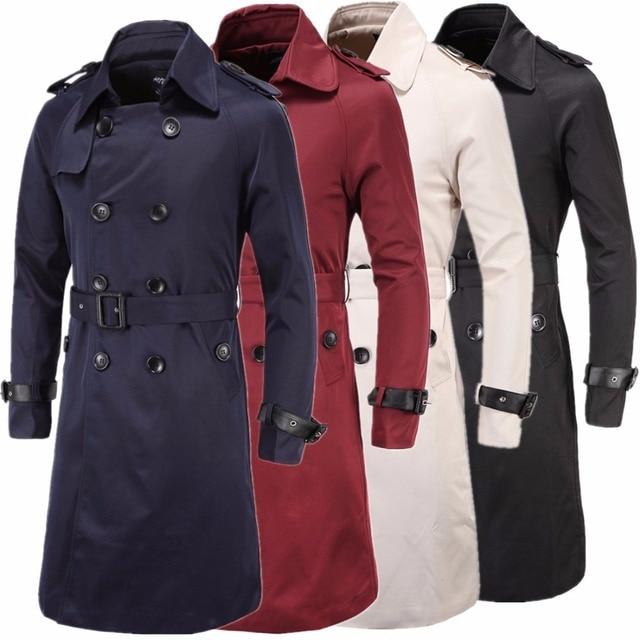 38afe7e0f0eb5 Chaqueta Para Hombre Abrigo largo Trench Coat Hombres Nueva Adulto Niño  Delgado Cruzado Ropa Negro Rojo