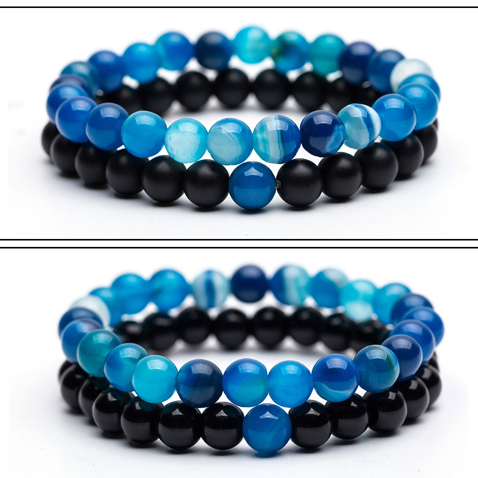 Couples Distance Bracelets for Men Women Blue Black Natural Stone Lava Stone Beaded Strand Wrap Buddha Bracelets&Bangles Jewelry