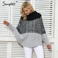 Simplee Bat Sleeve Knitting Pullover Femal Casual Knitted Sweater Streetwear Autumn Winter Sweater Women Pullover Jumper