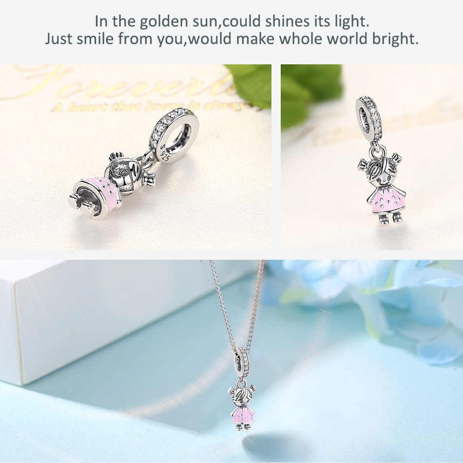 ELES mesmos 2019 novo 100% 925 Sterling Silver Beads Little girl & Boy Dangle charme Fit Pandora Charm Bracelet PINGENTE diy jóias