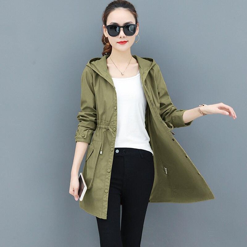 Spring Autumn   Trench   Coat Women Full Sleeve Thin Overcoat Medium Long Windbreaker Female 2019 New Temperament Hooded Clothing