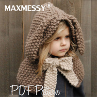 Maxmessy Winter Baby Hat With Scarf Beanie Warm Hat Hooded Scarf Handmade Cartoon Rabbit Ear Knitted