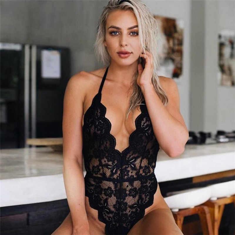 Şifreleme Backless yular dantel Bodysuit şeffaf kadın vücut sıcak seksi Teddies 2020 tulumlar kadınlar derin V şeffaf Bodysuits