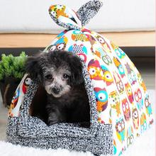 Soft Pet Yurt Nest Dog Bed Puppy Kennel For Dogs Cat Tent Small Animals Home Dog House With Mat All Seasons Chihuahua Cushion