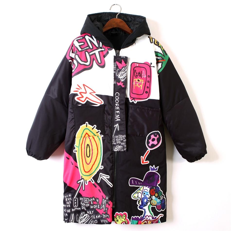 Hiver Femmes de Veste Zipper Hoodies Épais Avertir de Bande Dessinée Imprimé Casual Manteau pour femmes Lâche Harajuku Hip Hop Vestes
