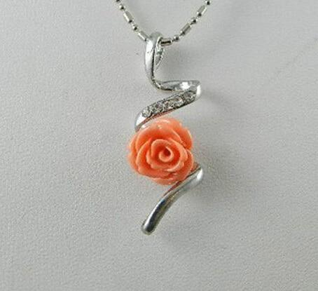 ll 12mm rosa sea coral flor pingente esculpido colar in charms