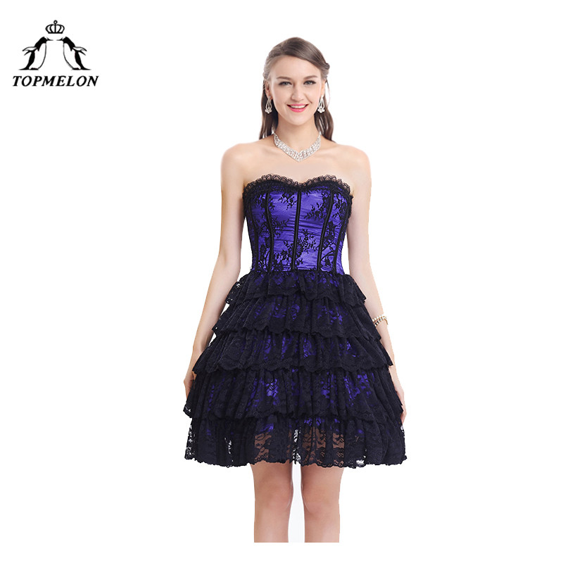 TOPMELON Steampunk Corset Dress Corset Bustier Gothic Corselet Sexy Corset Women Lace Ruffles Floral Party Hot Short Dress