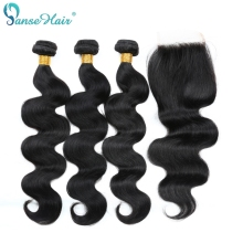 Panse Hair Malaysian Body Wave Human Hair 3 Bundles With Lace Closure 4X4 Non Remy Hair 8 Til 28 Inches Blandet Længde