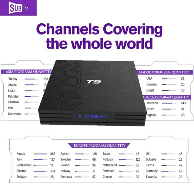 US $77 98  Europe IPTV Portugal TV box Android 8 1 T9 With SUBTV iptv m3u  For Arabic French Brazil Latino Greece Denmark Romania IP TV-in Set-top