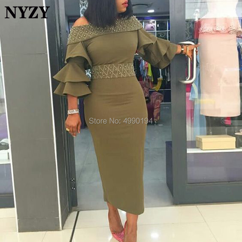 NYZY C122 Africa Lycra 3/4 Sleeve Pearls Beaded Olive Green Robe   Cocktail     Dress   Elegant vestido coctel 2019 abiti da cerimonia