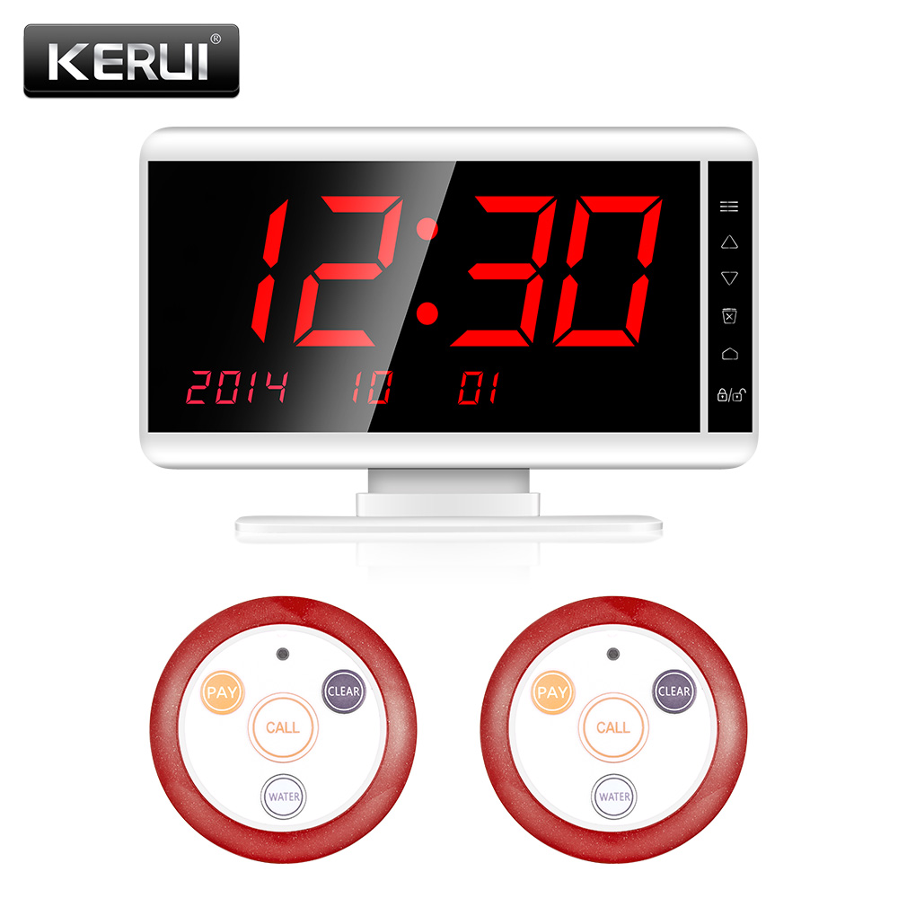 KERUI 433MHz Wireless Calling System 1 Receiver 2 Call Button Waiter Call Pager System Restaurant Equipments With Alarm System детская футболка классическая унисекс printio happy new year