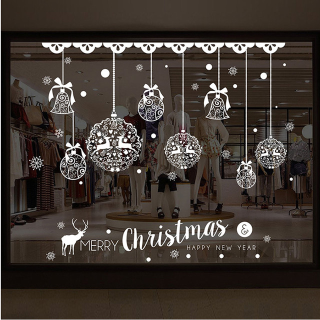 Xmas window stickers shop decoration wall sticker removable jingle bells deer white christmas ornaments enfeites de