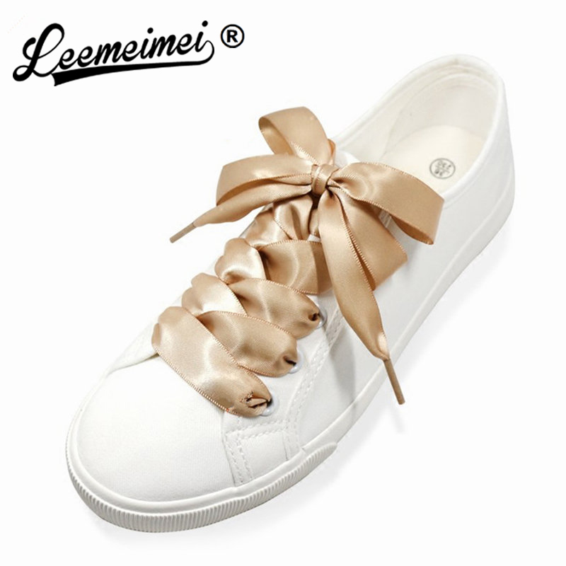 1PAIR Fashion 120CM Flat Silk Ribbon Shoelaces Shoe Laces Sneaker Sport Shoes Lace One Pair Drop Shipping
