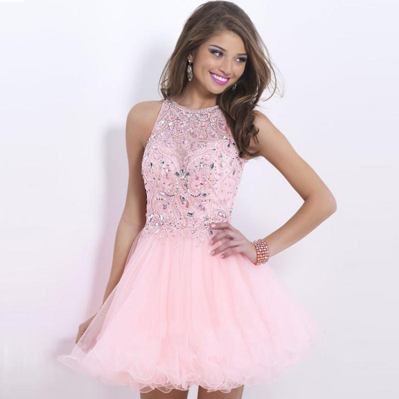 2016 New Light Pink Short Quinceanera Dresses Sparkly Rhinestones ...