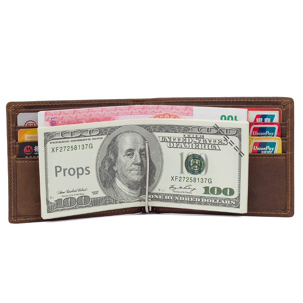 J M D Imported Crazy Horse Leather ID Card Holder Case Purse Fashion Casual Card Holder Wallet High Quality Short Wallet R 8166R in Wallets from Luggage Bags