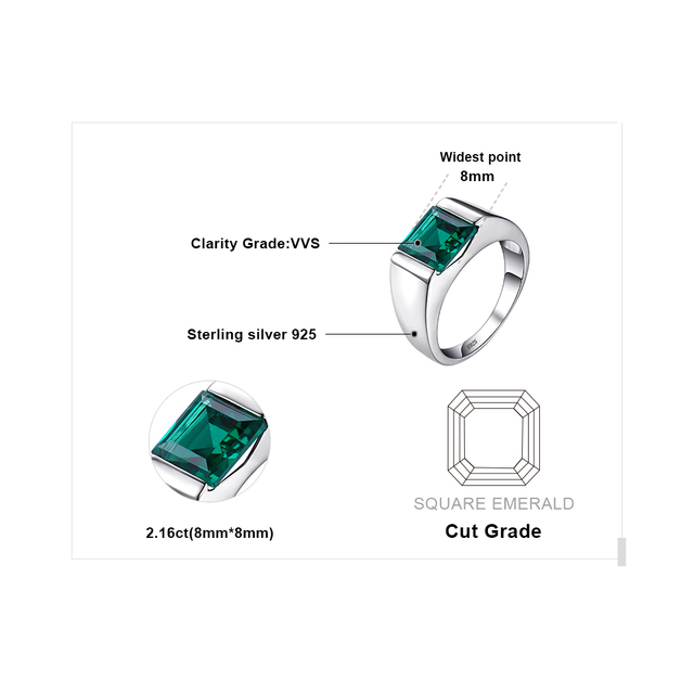 JewelryPalace Men's Charms 2.2ct Created Emerald Engagement Rings 100% Real 925 Sterling Sliver Square Cut Gemstone Fine Jewelry