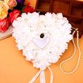 Love Heart Shape Rose Flowers Valentine Day Gift Ring Box Romantic Wedding Jewelry Case Ring Bearer Pillow Cushion Holder