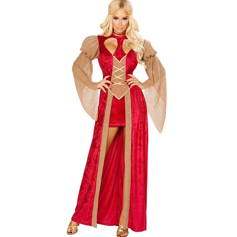 Adult Medieval Princess Renaissance Hottie Costume Long Red Fancy Party Dresses -9391
