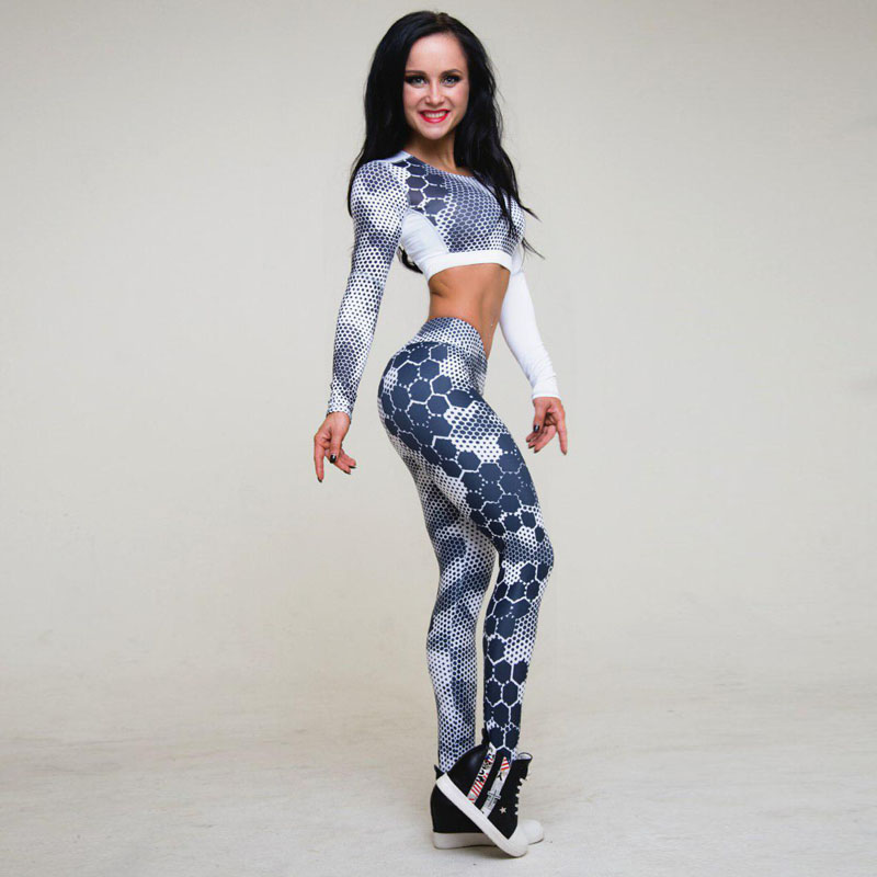 JLZLSHONGLE 2018 New Women's Fitness Suit Sets Sexy Dot Printed Tracksuit Long Sleeve Crop Top And Slim Leggings Two Piece Set