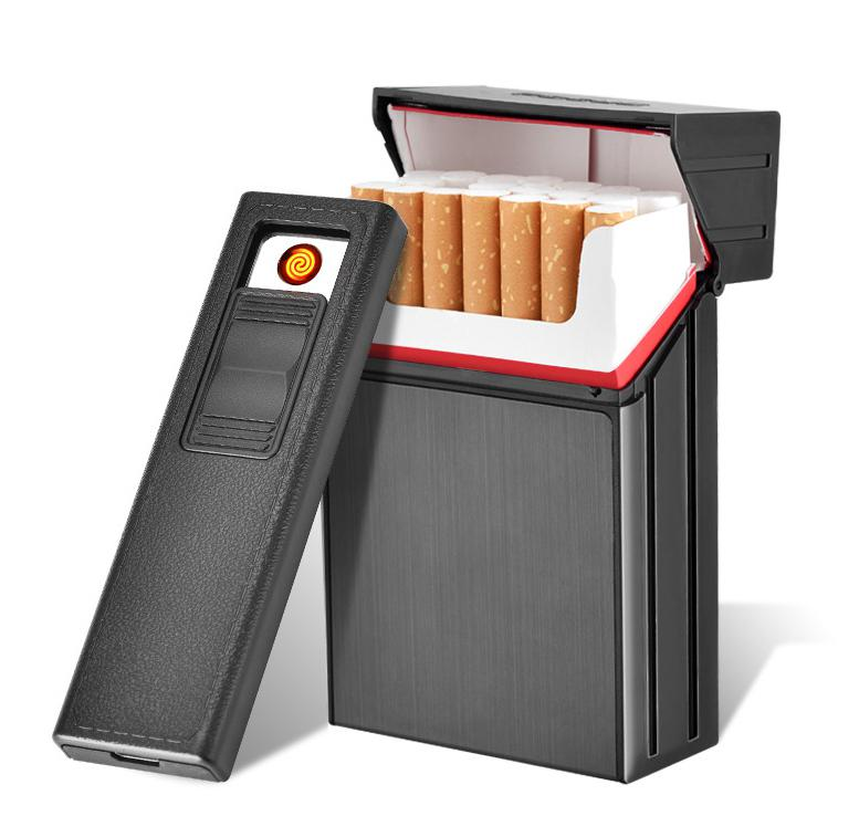 HobbyLane Portable Aluminum Cigarettes Box Case With Lighter Men Removable USB Charging Cigarettes Can Hold 20 Piece Cigarettes