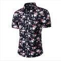 2017 Mens de La Manera Floral Hawaiano Camisa De Manga Corta Ocasional Del Verano Camisas Para Hombres Tamaño Asiático M-4XL 10 Colores