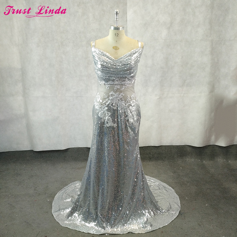 Sexy See Through Silver Sequined Appliques   Bridesmaid   Gowns Wedding Party   Dress   Trumpet Mermaid   Bridesmaid     Dresses   Custom Made