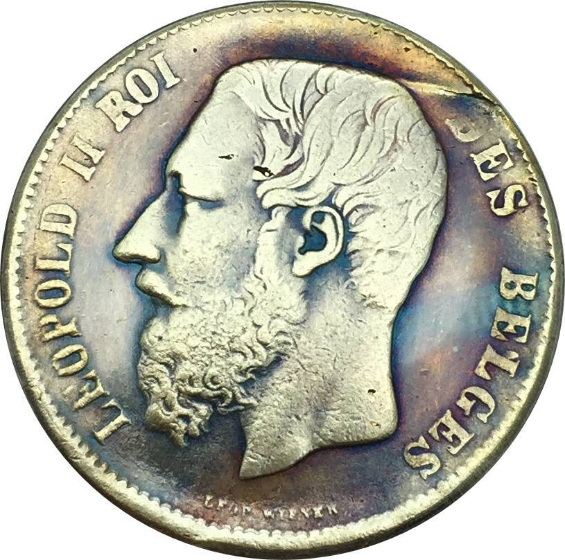 Belgium Coins 1866 Leopold II Roi Des Belges Crowned Shield Divide Denomination 5 France(Frank) Brass Silver Plated Copy Coin