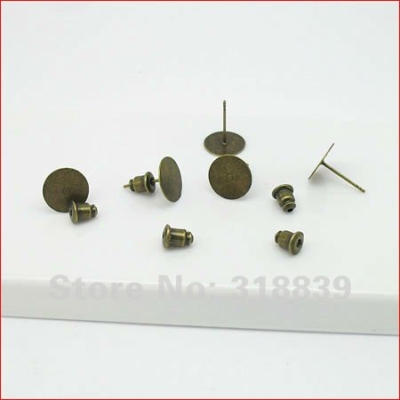 Trendy Antique Bronze Stud Earring Back Earring Base Blank Pad Earring Component Fit DIY Jewelry Making 80pcs 10mm 0351