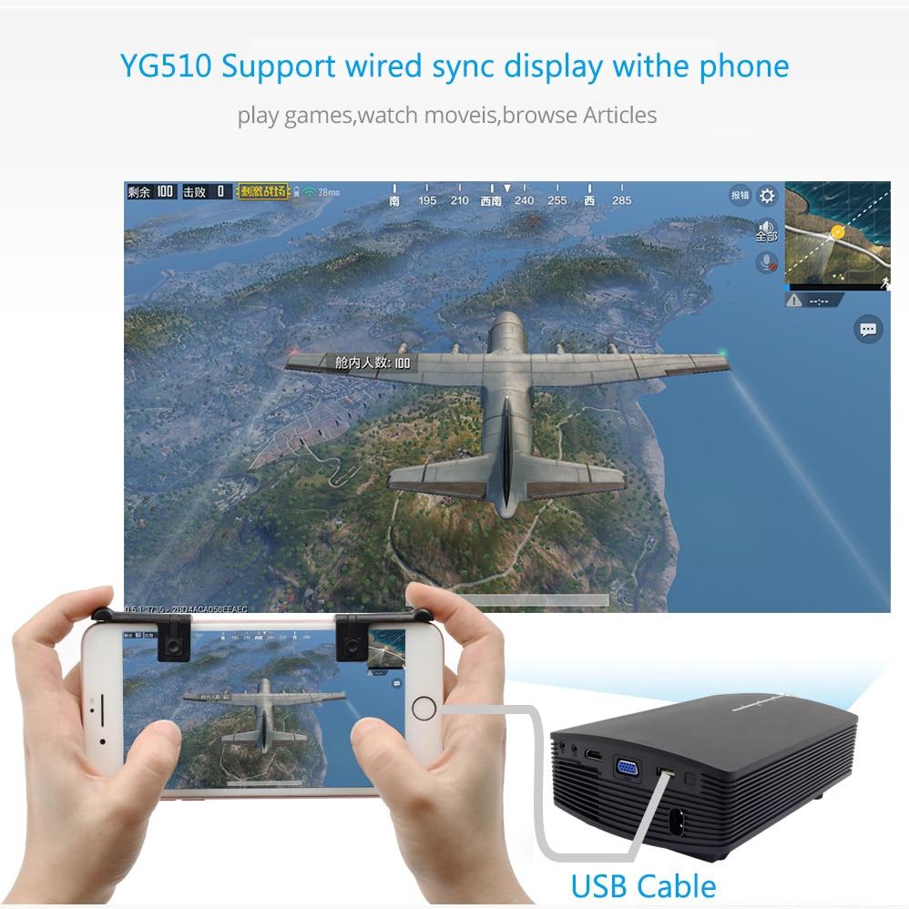 AAO YG500 Upgrade YG510 Mini Projector 1080P 1800Lumen Portable LCD ...
