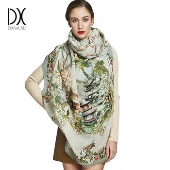 ba2125b0f2e94 DANA XU Winter luxus Marke Plaid Kaschmir Schal Frauen Übergroßen Decke  Wrap Lange Wolle Schal Frauen Pashmina Tücher und Schals